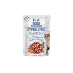 Brit Care Cat Pouch Fillets Jelly Duck & Turkey Sterilized