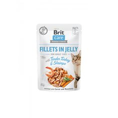 Brit Care Cat Pouch Fillets Jelly Turkey & Shrimps